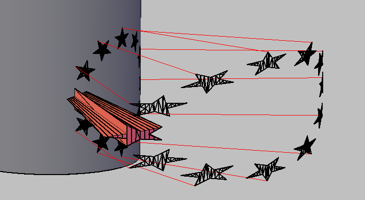 [問題]星星圓形陣列環繞在圓柱有些問題 TuYNhp