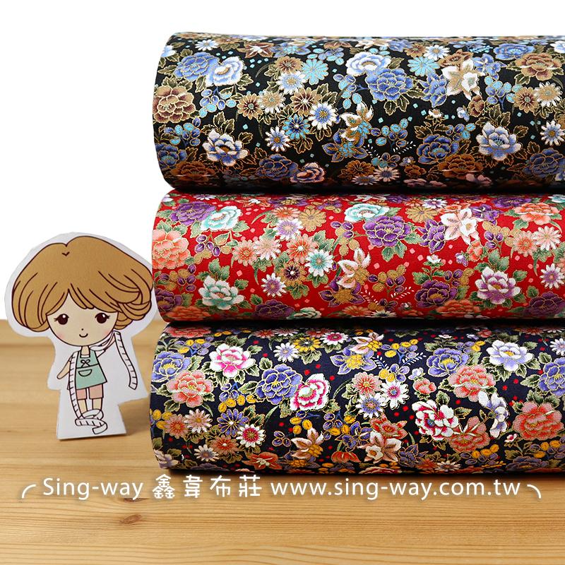 燙金百花爭豔 滿版繁花 薔薇 富貴花樣 日式風格 手工藝DIY布料 CA450783