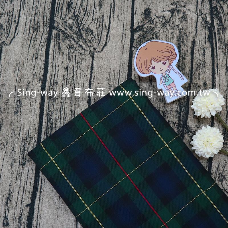 軍綠格紋 百褶裙 裙褲 學生制服 套裝 服裝布料  EC990027