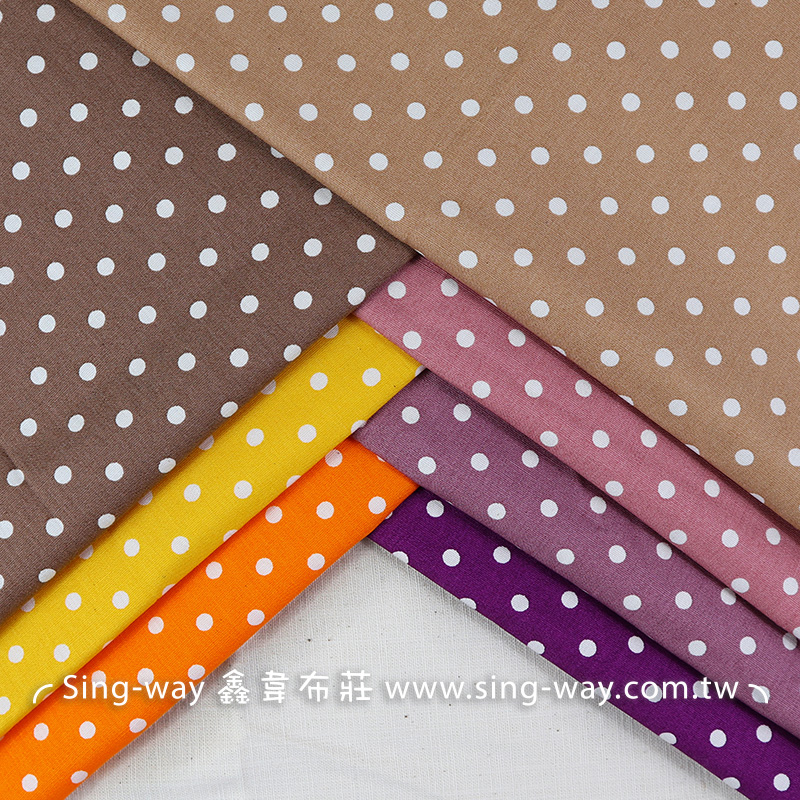 小白點紫黃(0.5cm)(大特價) 點點 圓點 水玉 滾邊配布 手工藝DIy拼布布料 CA450518