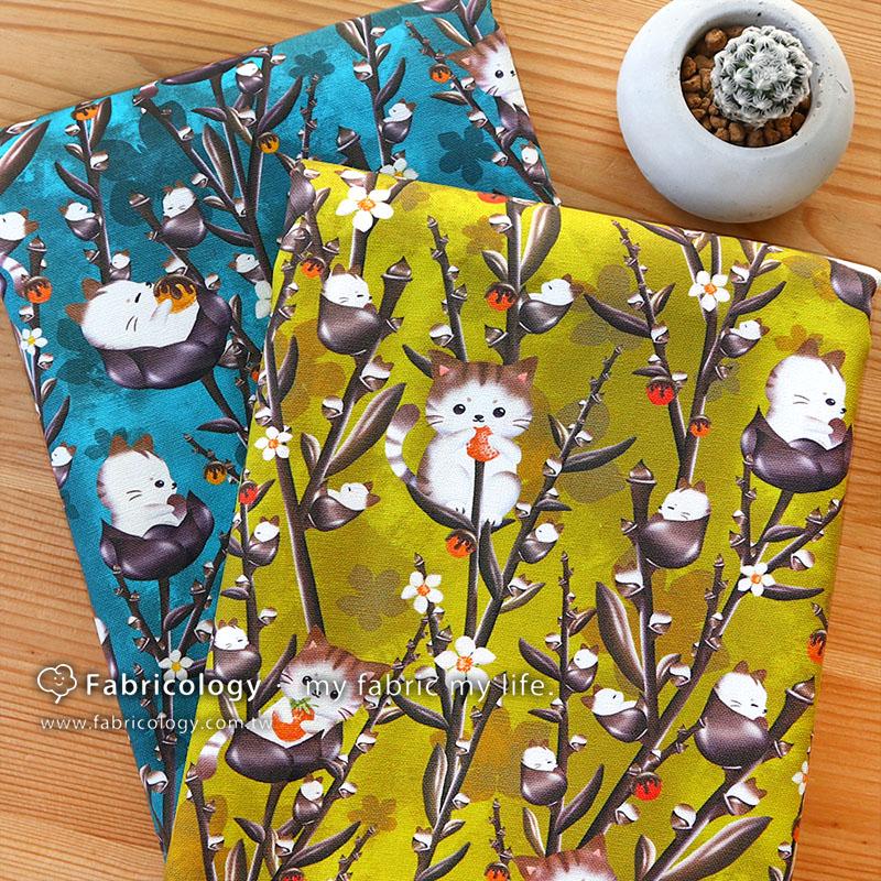布學盒裝印花布(1y)可可貓 手工藝DIY布料 SW001903-8