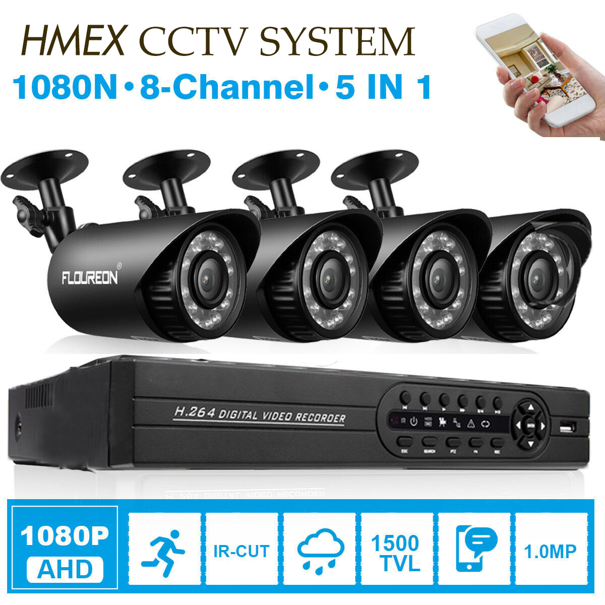 Details about 4CH 1080N AHD DVR 1500TVL Cameras IR Vision CCTV Security  System HDMI VGA LOT