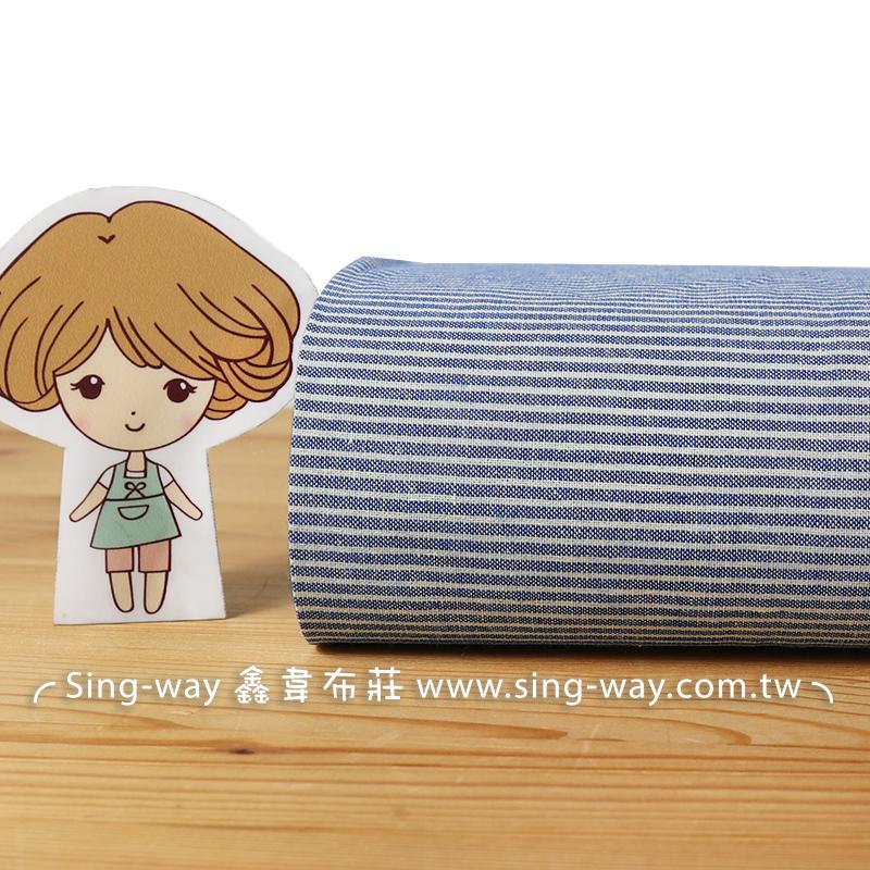 藍白間隔 條紋 直線 文青風 格紋 襯衫洋裝服裝布料 FB590075