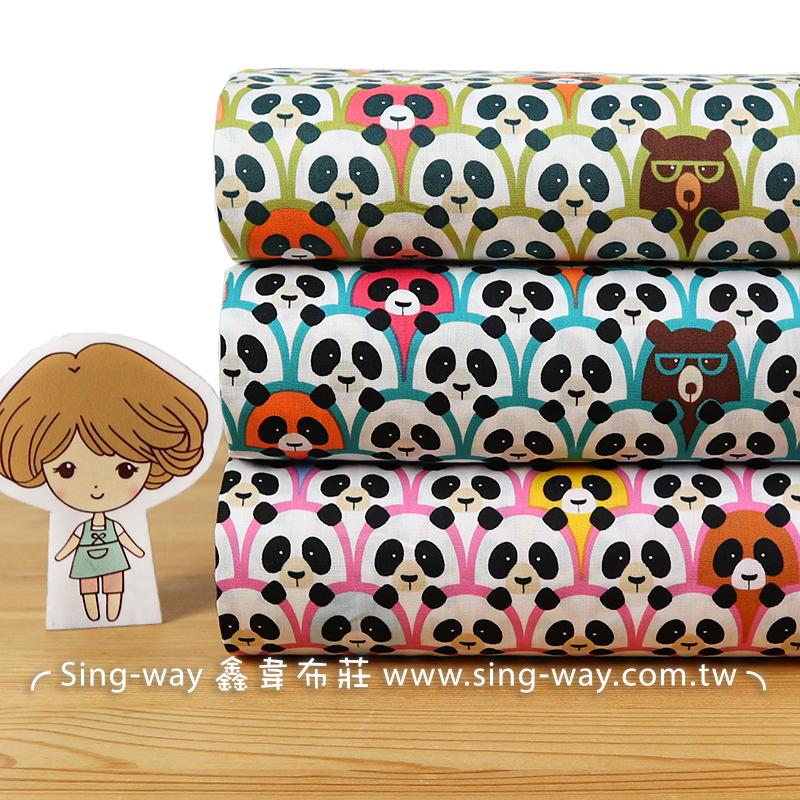熊貓 台灣黑熊 酷熊 團團圓圓 panda 滿版圖案 貓熊 可愛動物 手工藝DIY布料 CA450793
