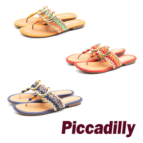 Piccadilly 彩紋編織串珠拖鞋