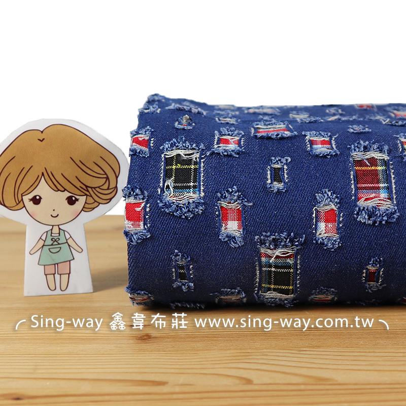 英國藍紅窗格 牛仔布 旋轉燈 格子布 手工藝DIY布料 CE1190001