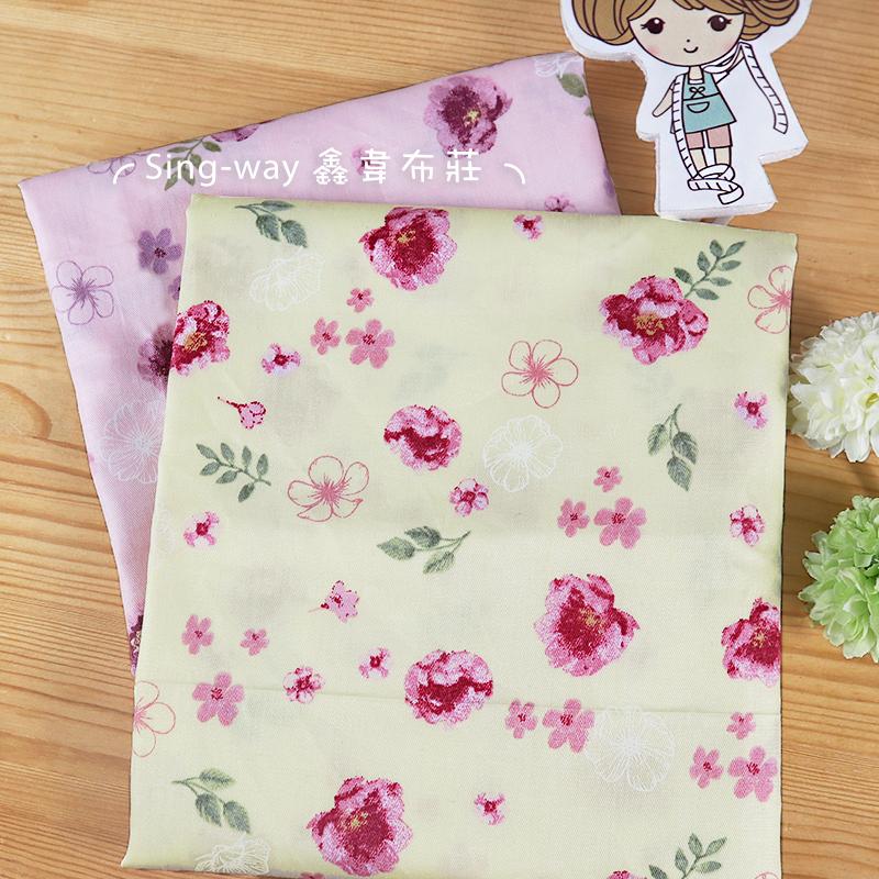 海棠花 櫻花 小草 精梳棉床品床單布料  CA520011