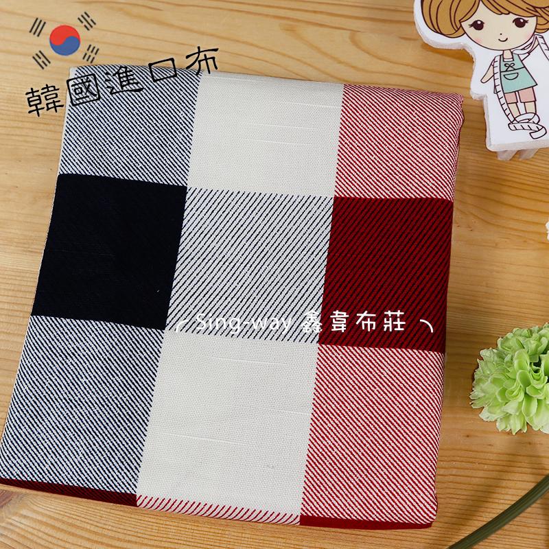 白格子 大方格 線條 正方形 簡約風 韓國進口布 手工藝DIY布料 CA590227