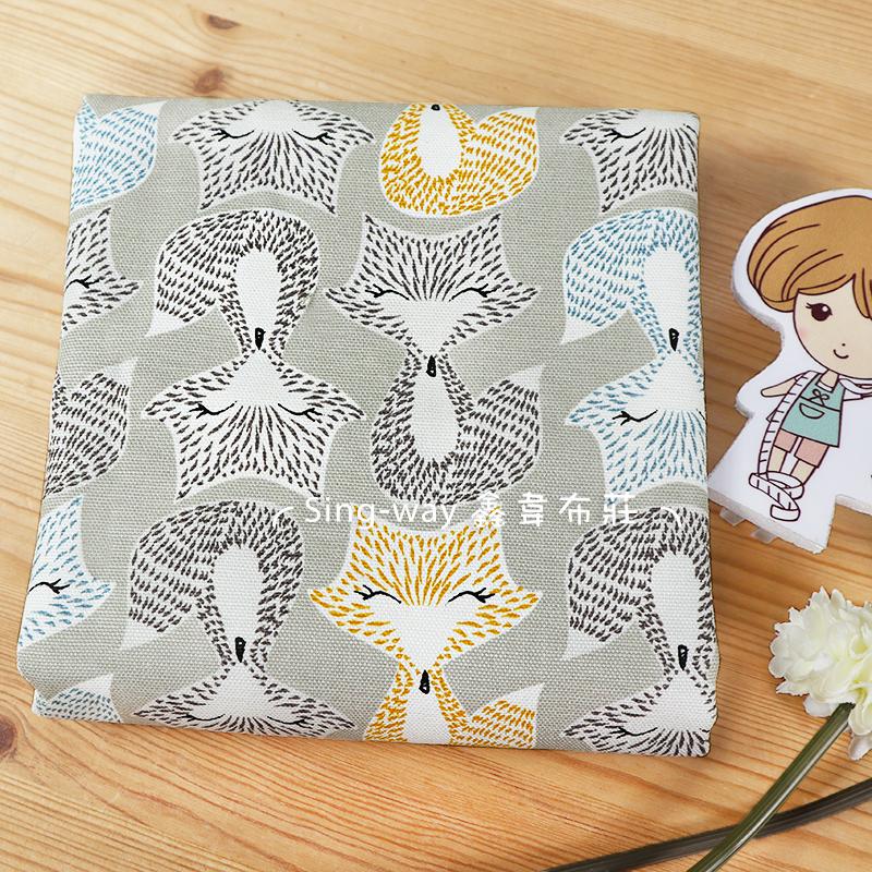 彩色狐狸 FOXs 狡猾 可愛動物 微笑 手工藝DIY布料 CA690238
