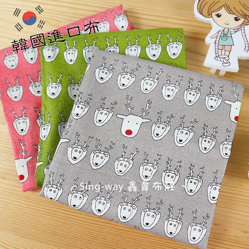 鹿羊咩咩 麋鹿 馴鹿 紅鼻鹿 可愛動物 韓國進口布 手工藝DIY布料 CA490410