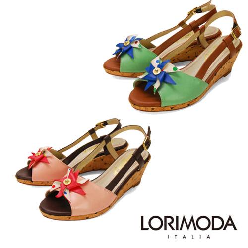 LORIMODA 配色花朵楔型涼鞋