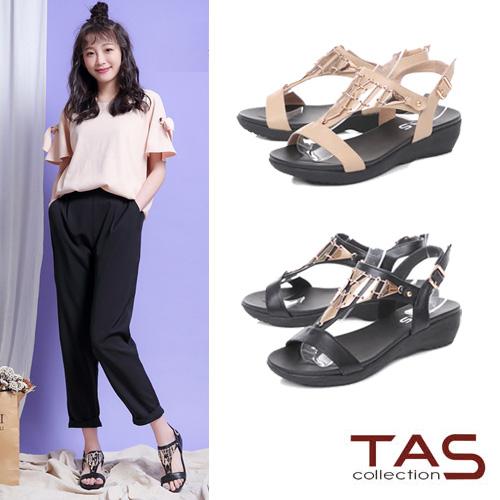 TAS  金屬造型T字涼鞋