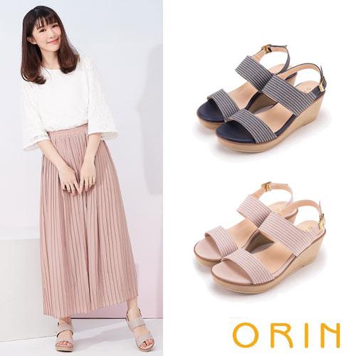 ORIN  條紋布面楔型涼鞋