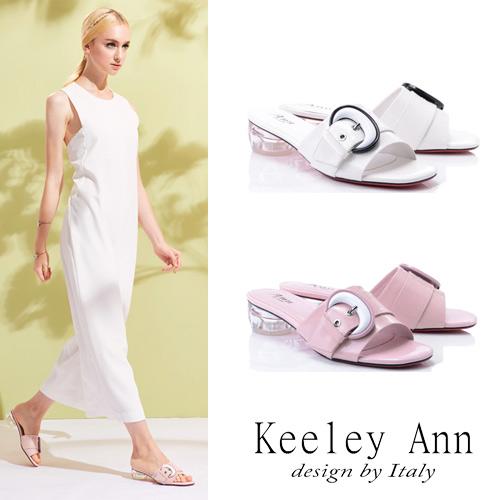 Keeley  月亮飾釦條帶拖鞋