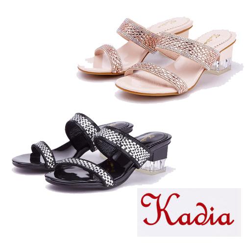 kadia  優雅雙色水鑽高跟拖鞋