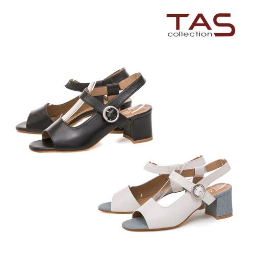 TAS  羊皮鏤空魚口粗跟涼鞋