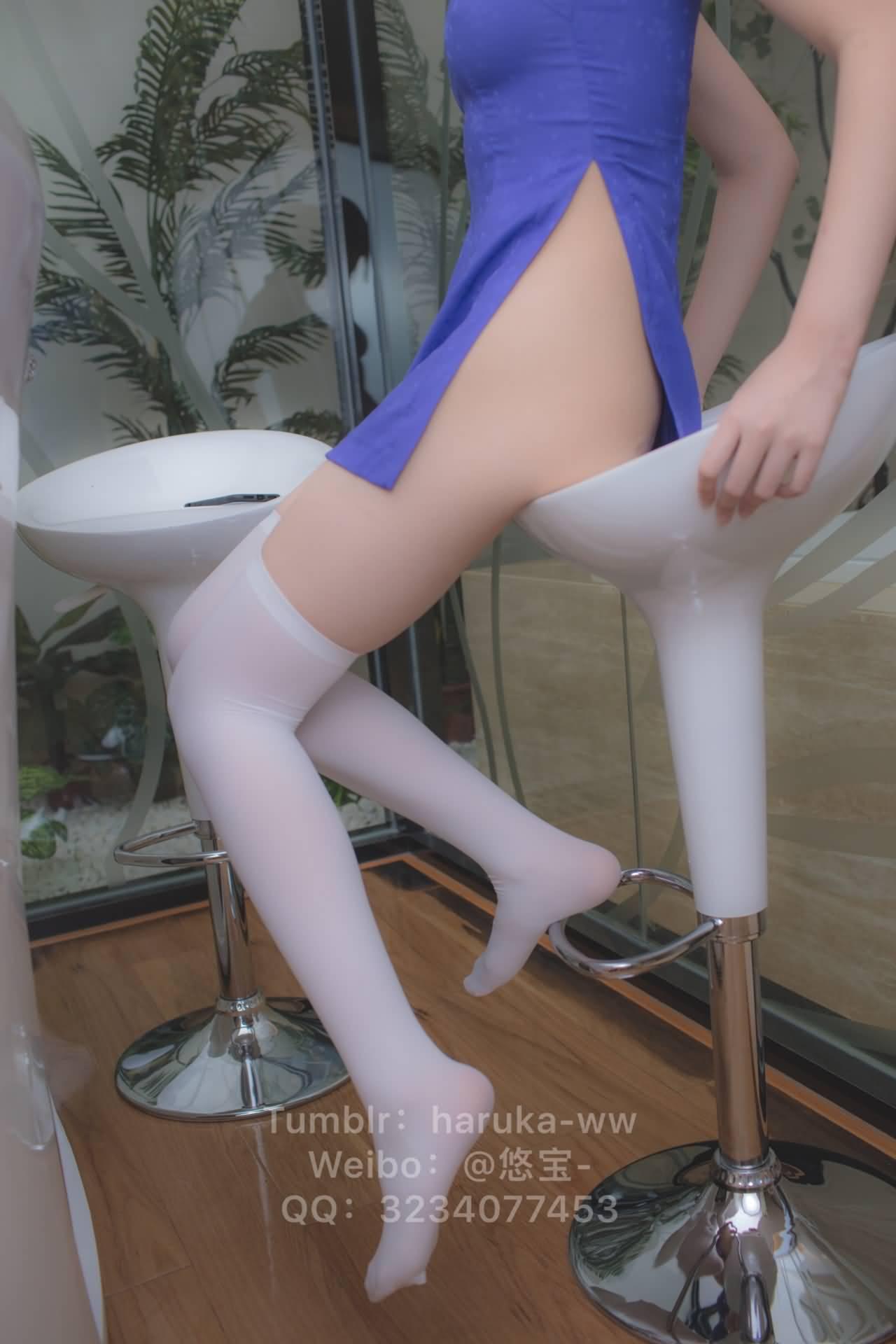 phDNfm - Young japanese school girl white stockings cheongsam 悠宝三岁 白丝旗袍