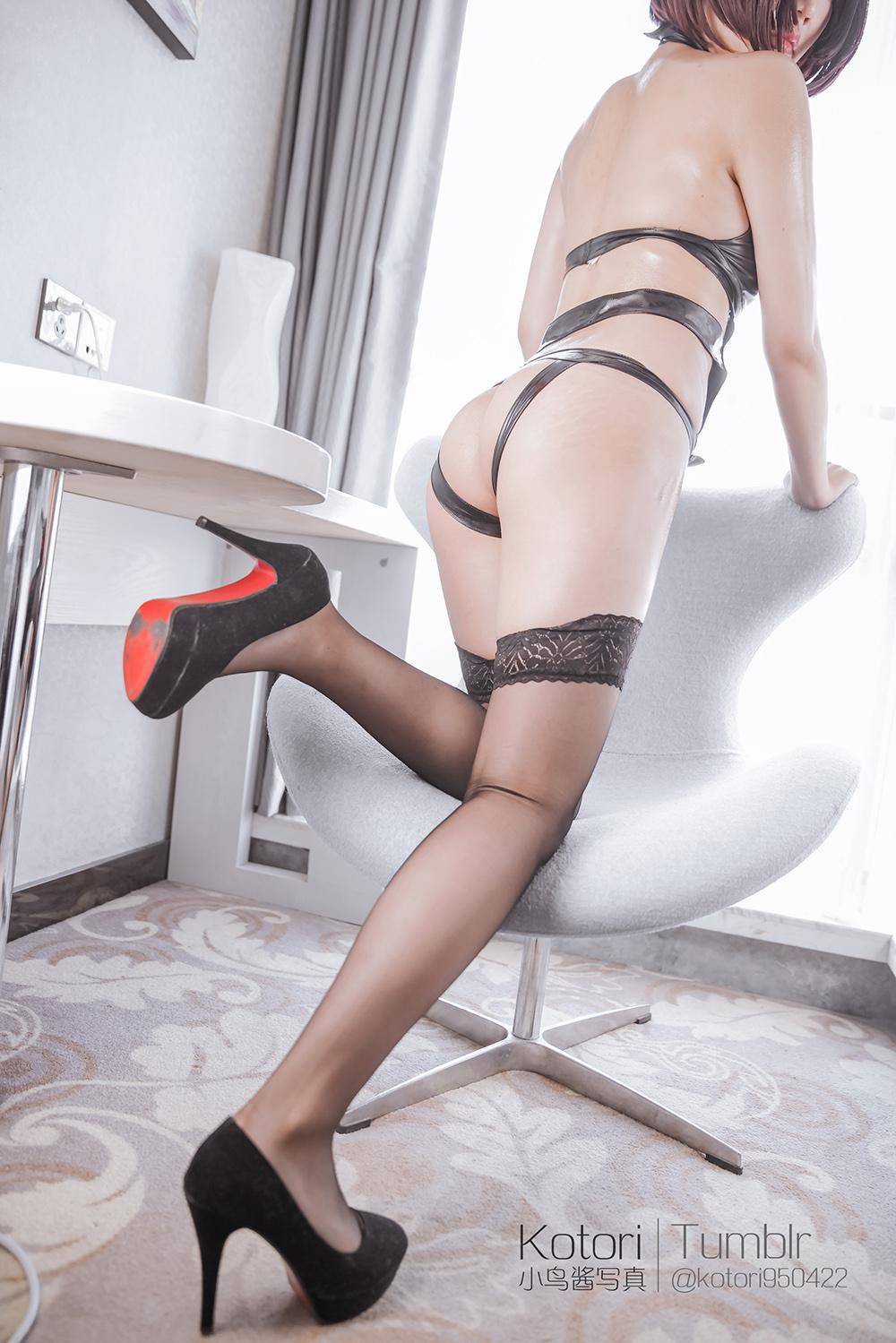 dqKfgQ - Cosplay girl PR社 福利姬 小鸟酱系列–黑色束缚衣