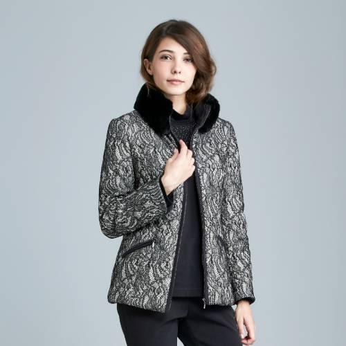 盈樺 優雅蕾絲毛領鋪棉外套