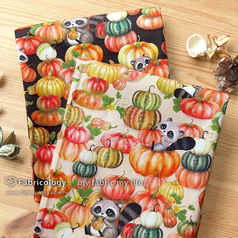 布學盒裝印花布(1y)浣熊的秋日饗宴 手工藝DIY布料 SW001909-3