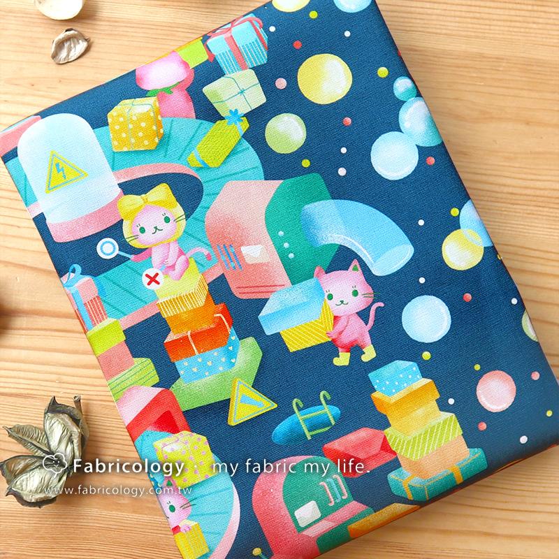布學盒裝印花布(1y)禮物貓 手工藝DIY布料 SW001909-9
