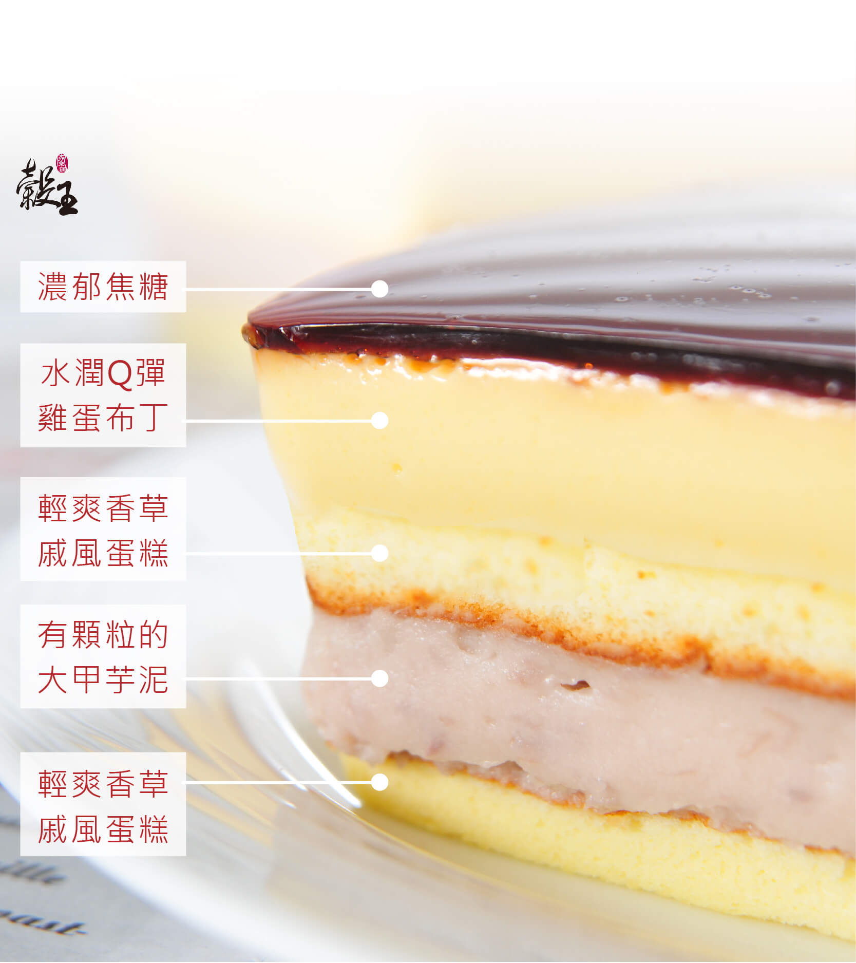 蘭田穀王烘焙坊焦糖鮮芋布丁豐富5層次解剖圖