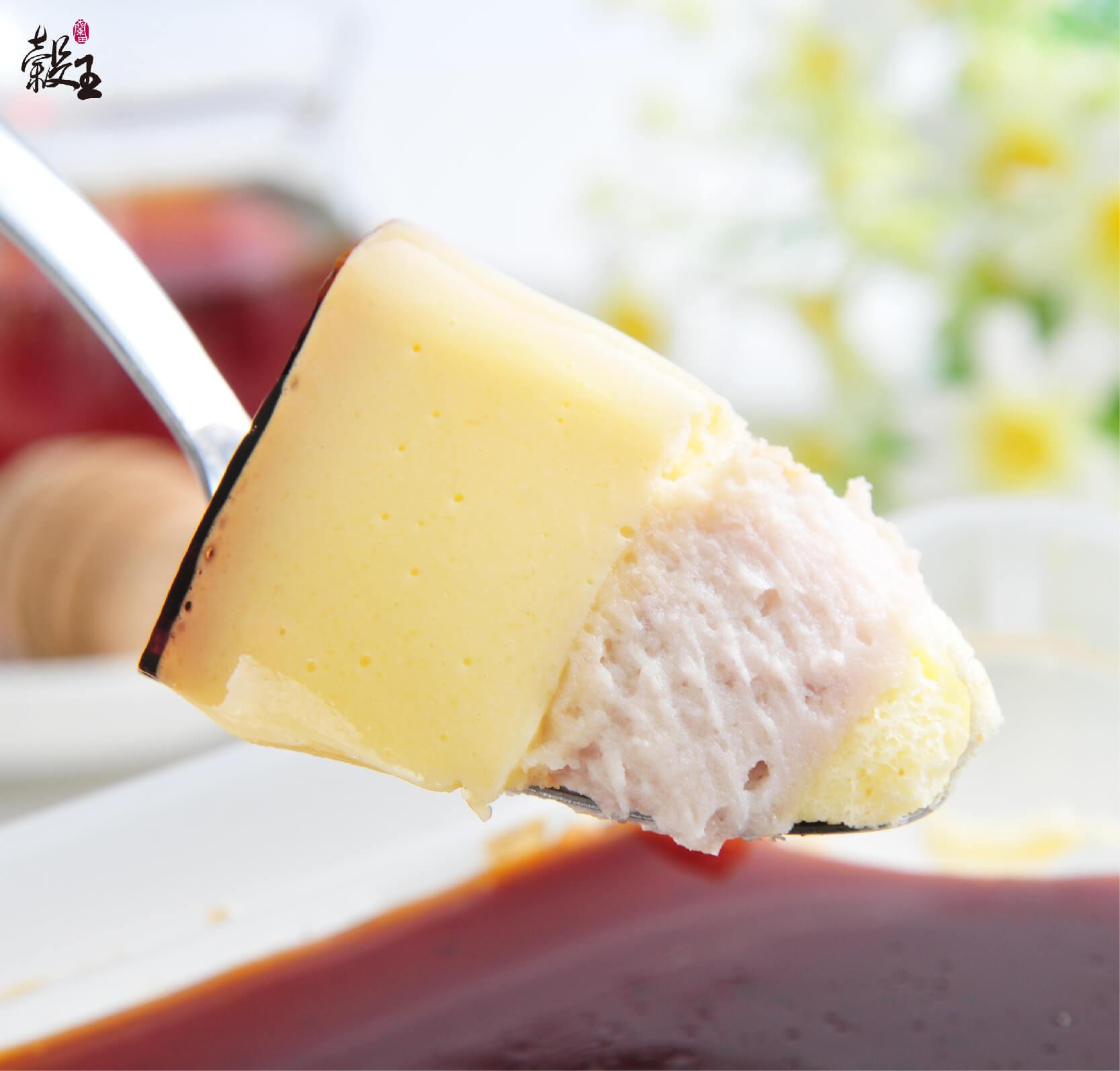 蘭田穀王烘焙坊焦糖鮮芋布丁湯匙挖一口好吃照