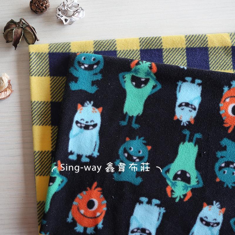 Q版怪獸樂園 LC490065 黃藍棋格 LC490069 絨毛 針織 手工藝DIY布料