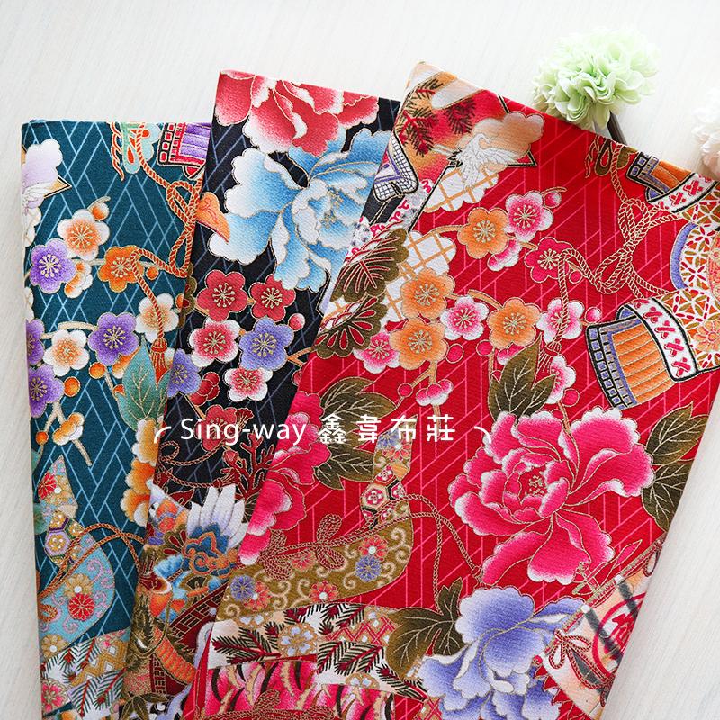 燙金昭和寶船 櫻花 日式風格 武士 龍船 手工藝DIY布料 CA450831