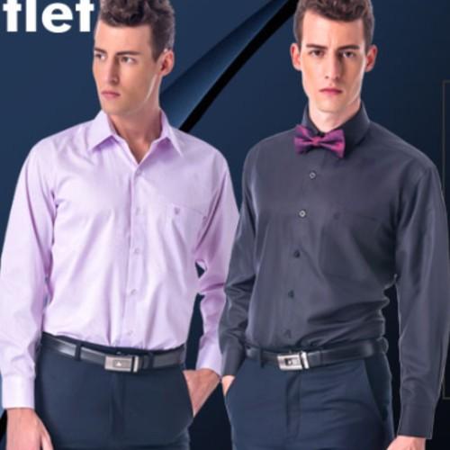 【金安德森】粉紅色類絲質窄版短袖襯衫