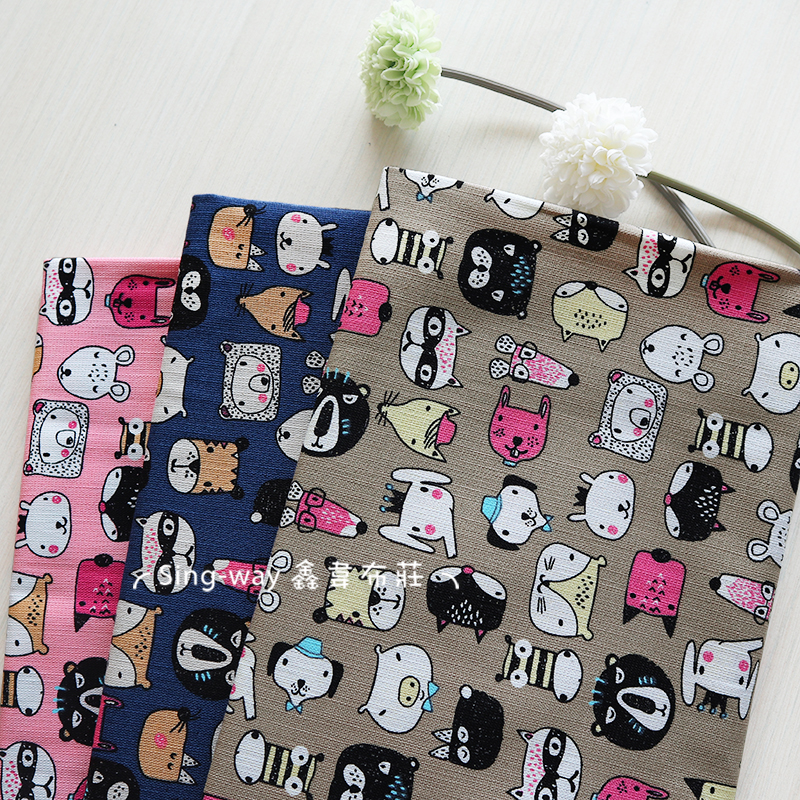 可愛動物臉譜 動物園 豬 大象 狐狸 兔子 手工藝DIY布料 CF550818
