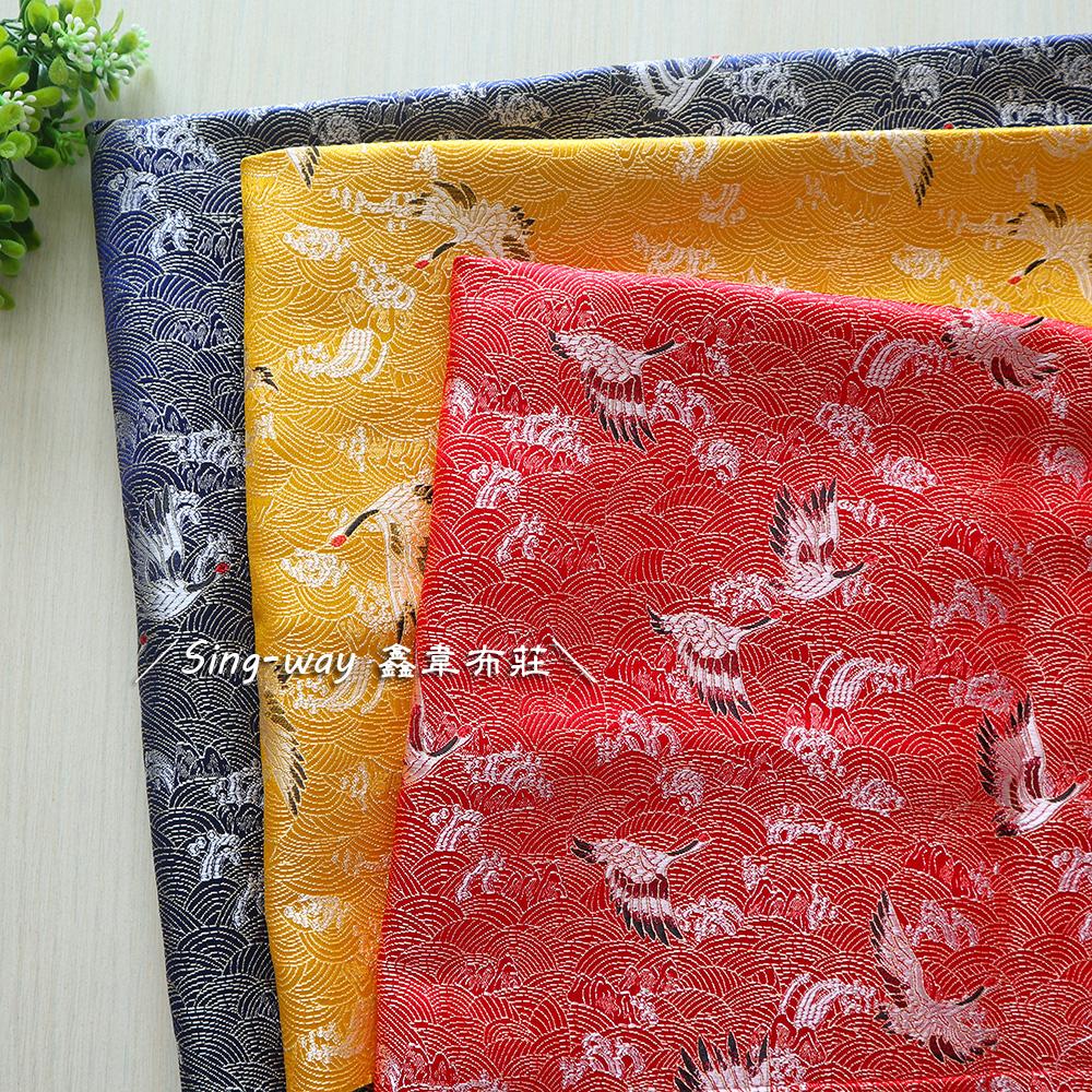 海雲仙鶴 織錦緞 T790011