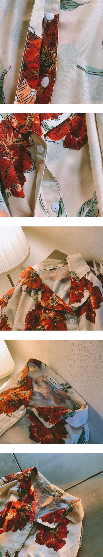 ♡ 右米衣飾 ♡【復古印花襯衫】大碼女裝 胖mm 棉花糖女孩 日系原創 大碼襯衫 氣質溫婉 復古印花長袖襯衫