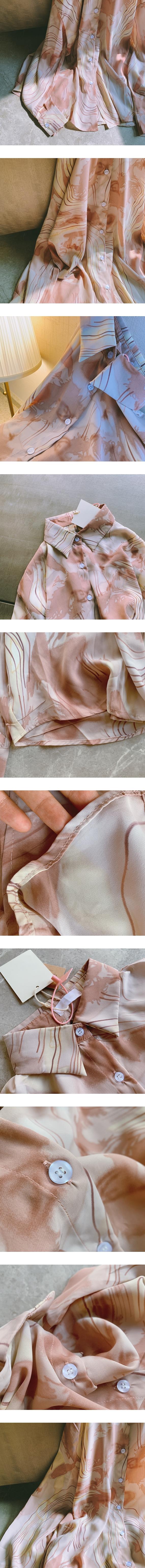 ♡ 右米衣飾 ♡【復古水墨雪紡襯衫】大碼女裝 胖mm 棉花糖女孩 日系原創 大碼雪紡襯衫 氣質溫婉 復古雪紡水墨長袖襯衫