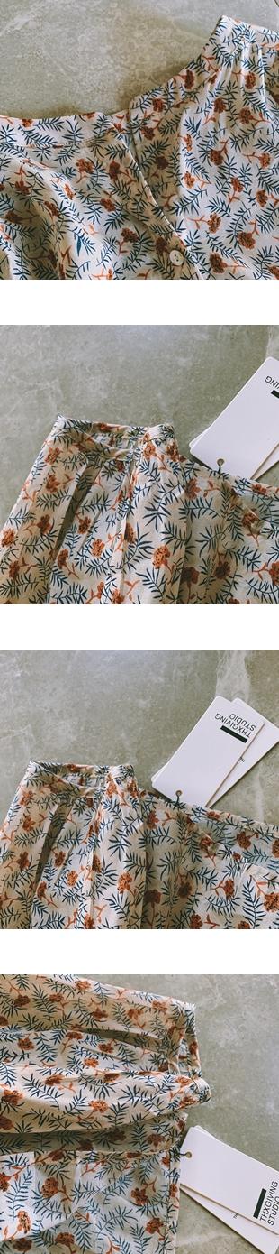 ♡ 右米衣飾 ♡【純棉復古印花襯衫】大碼女裝 胖mm 棉花糖女孩 日系原創 大碼襯衫 氣質溫婉 純棉復古印花襯衫