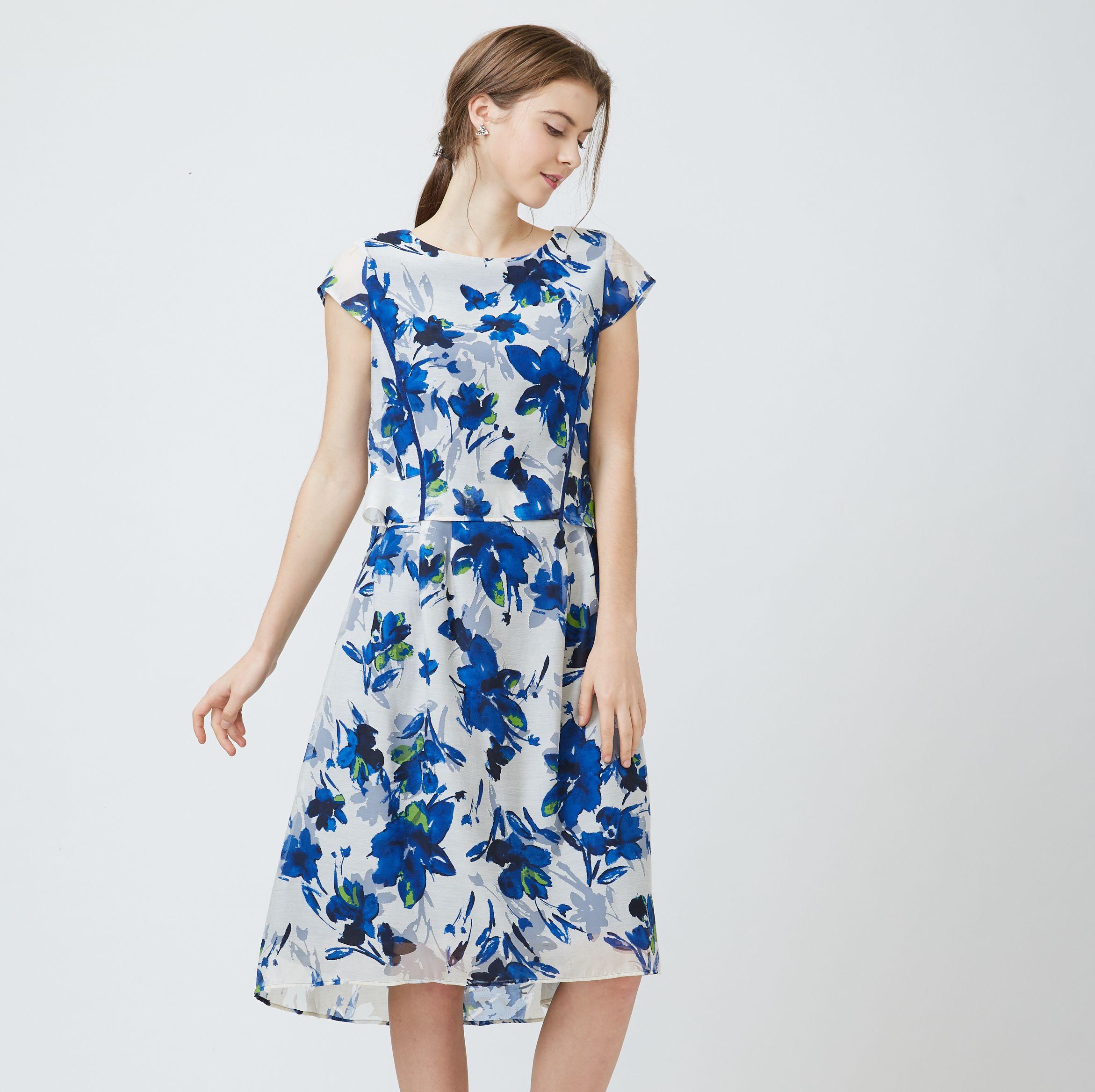FrescOggi 優雅氣質水彩花卉圖案提花洋裝 (2色)
