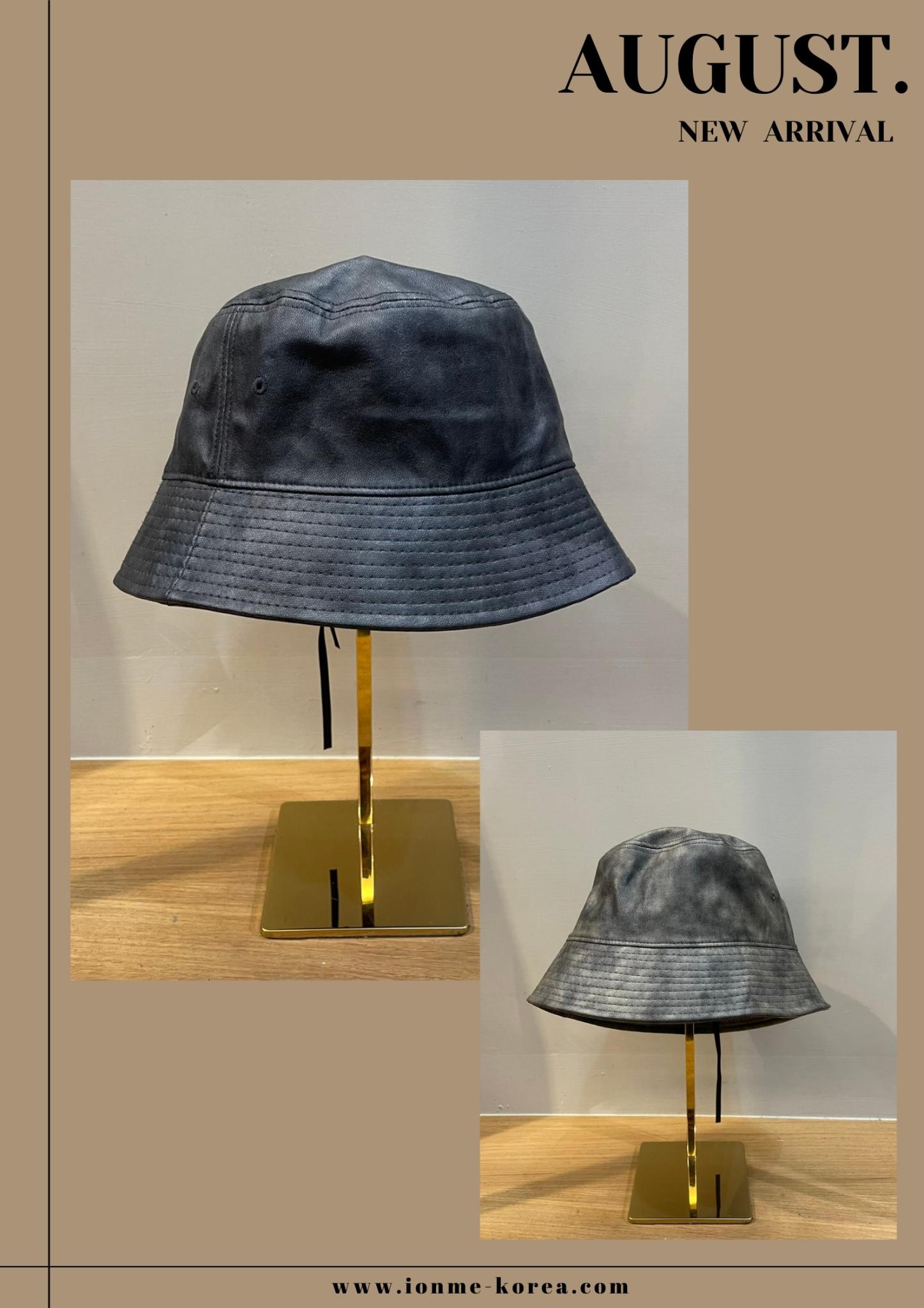 A68暈染皮革漁夫帽(灰)