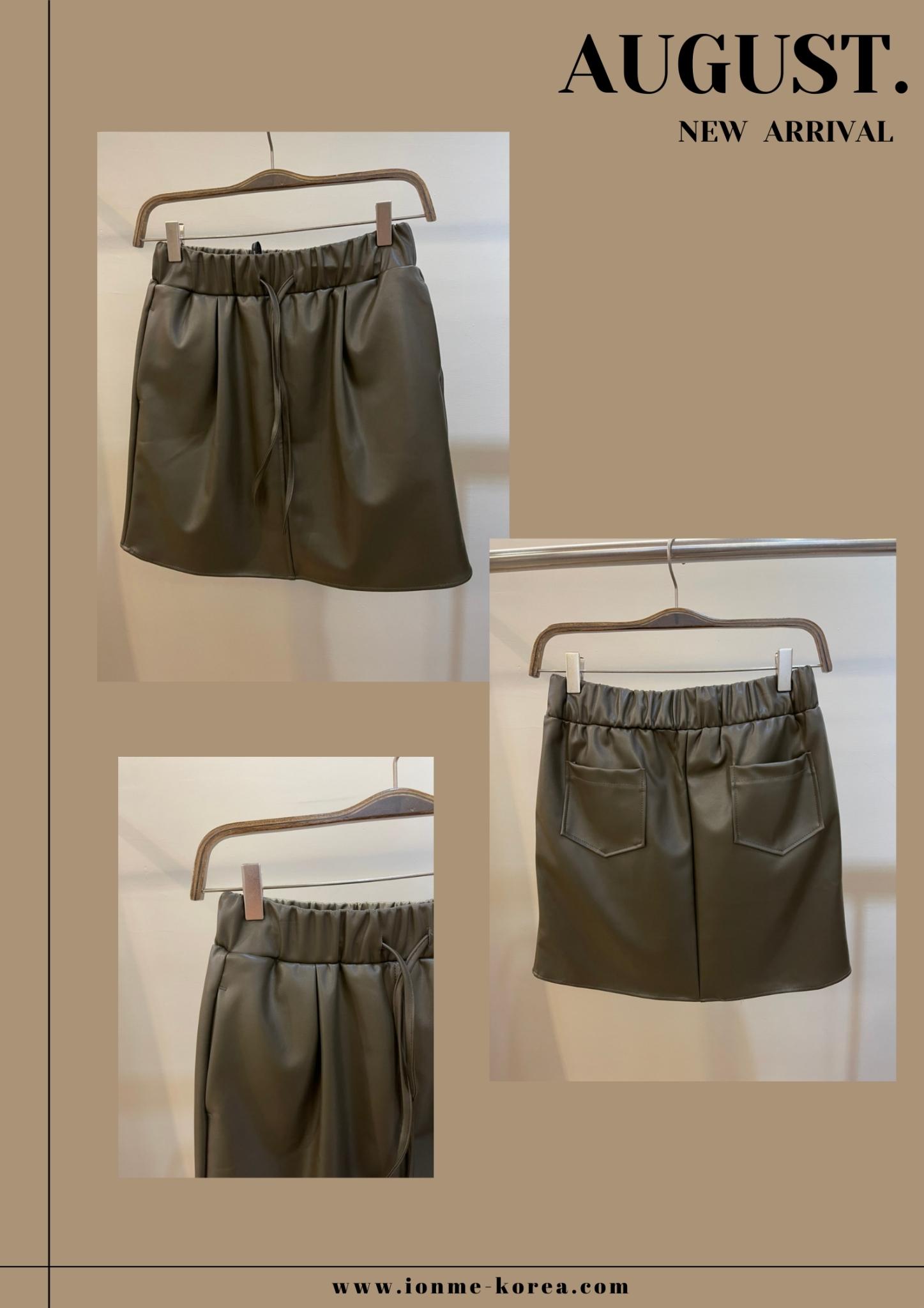 A18綁帶鬆緊皮短裙(綠)(F)