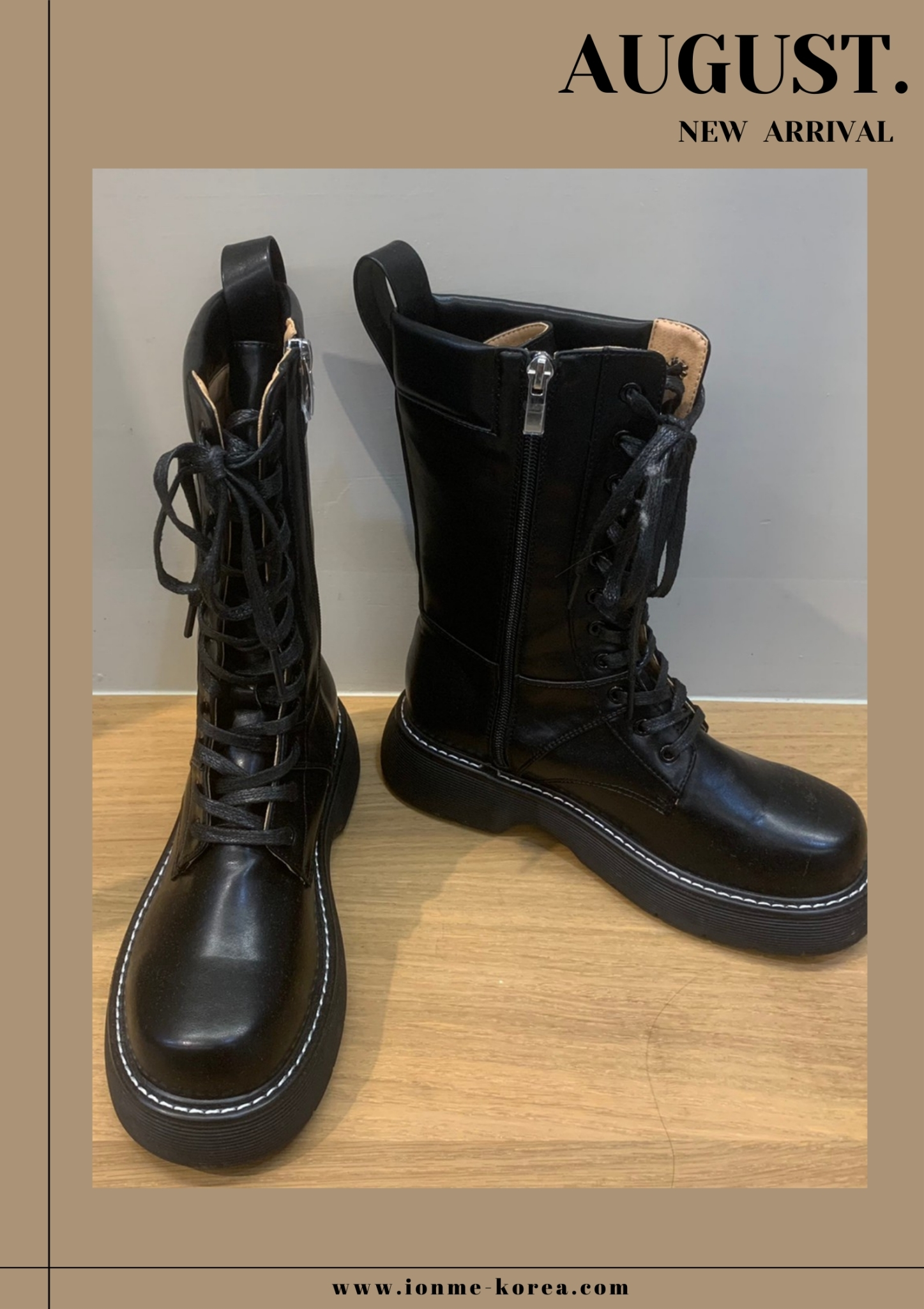 A74白線邊側拉鍊綁帶靴(黑)(25)