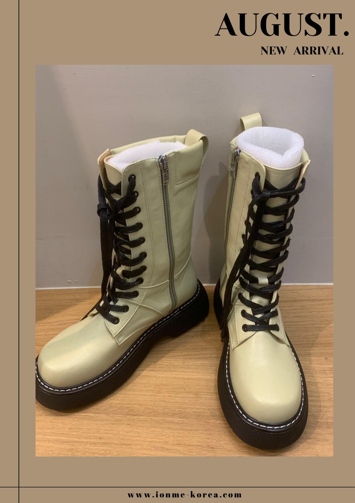 A74白線邊側拉鍊綁帶靴(綠)(23)