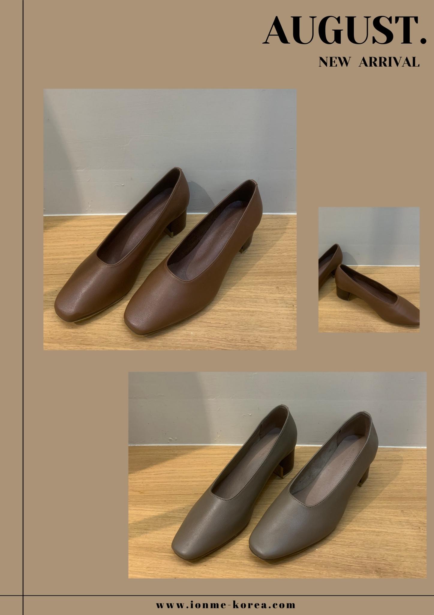 A72素面方頭低粗跟鞋(深咖)(24.5)