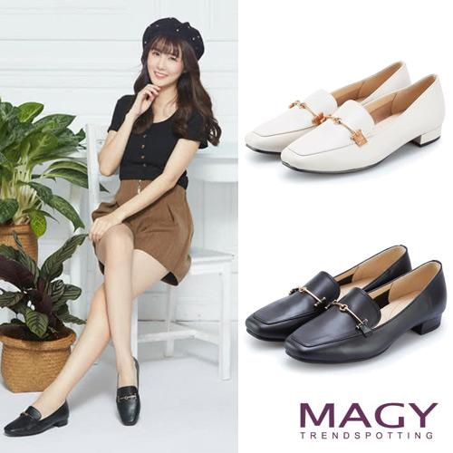 MAGY 金屬釦牛皮百搭平底鞋