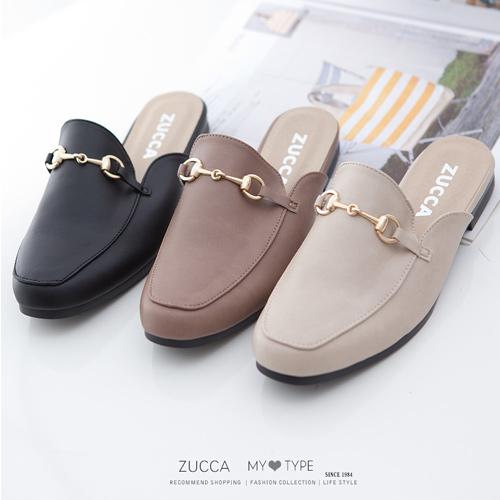 ZUCCA 金屬穿環平底穆勒拖鞋