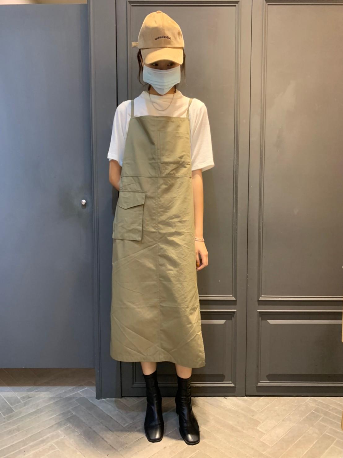 (N20)鬆緊口袋吊帶裙