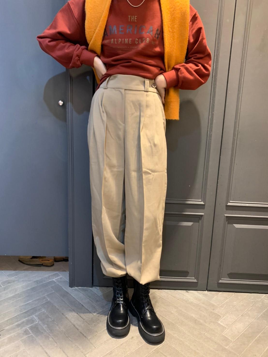 (N39)側釦後鬆緊寬褲