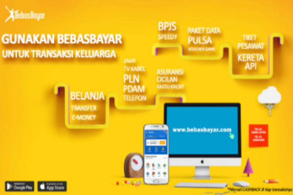 bebas bayar, pembayaran mudah dan cepat, transaksi online, pembayaran tagihan dan tiket, transfer dana online